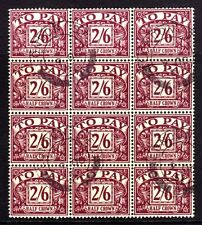 SG D54 1957 2/6d PURPLE/YELLOW POSTAGE DUE VERY FINE USED CDS BLOCK OF 12