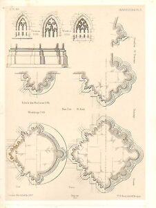 1857 GROSSE ARCHITECTURE AUFDRUCK MARBURG KATHEDRALE MITTELALTERLICH GOTHIC
