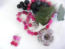 SALE!! DRAGON VEINS ROSE AGATE  AND ROSE RUBY BEADED NECKLACE & EARRINGS