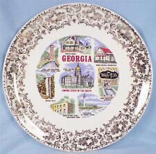 Vintage Georgia State Plate Souvenir 1950s Empire Pirates House Toccoa Falls