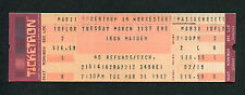 1987 Iron Maiden unused full concert ticket Worcester MA The Number Of The Beast