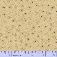 BY 1/2 YD~TALL GRASS~black square designs on tan by Pam Buda~MARCUS~8169-190