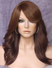 Human Hair Blend Wig w. Bangs Brown Auburn mix Side Waves yna 27-4-30