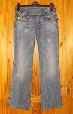 DIESEL Mid Blu Jeans Denim Effetto Invecchiato Sbiadito cherone Bootcut Taglia 27 W 32 Gamba