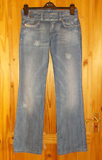DIESEL mid blue faded distressed denim jeans CHERONE bootcut Size 27 W 32 Leg