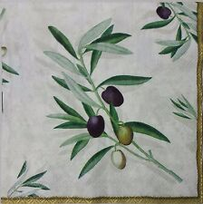 MEDITERRANEAN OLIVES 2 individual LUNCH SIZE paper napkins for decoupage 3-ply
