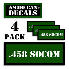 ".458 SOCOM Ammo Can 4x Labels Ammunition Case 3""x1.15"" sticker decals 4 pack GR"