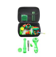Silicone Smoking Kit All-in-one Aluminum Storage Pipe Grinder Smell Proof Case