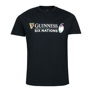 Guinness 6 Nations Rugby Logo Mens Black T-Shirt 2021 XL XLARGE Pit To Pit 56cm