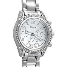 Silver Medium Face Crystal Womens Watch