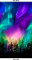"23"" Fabric Panel - Timeless Treasures Aurora Borealis Space Forest Silhouette"