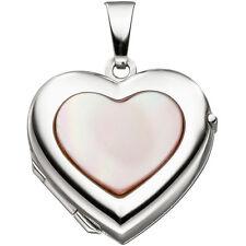 medallón de corazón para 2 Fotos ORO 333 blanco con nácar Amuleto Colgante