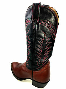 Alberta Boots Western Cowboy Cherry Red/ Black Boots Size 8..5 USA.
