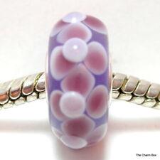 STERLING SILVER Purple & Daisy Flowers Murano Glass European Bracelet Bead