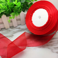 NEW DIY 5 Yards 50mm Red Spool Satin Edge Sheer Organza Ribbon Craft