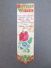 Antique BOOKMARK Woven Silk Stevengraph Birthday Wishes Verse Poppy Flowers