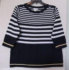 CJ Banks Size 2X White & navy stripe boatneck sweater, 3/4 sleeve NWT