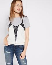 EXPRESS L DOUBLE LAYER GRAY HEATHERED IVORY BLACK LACE CAMI t-shirt top tank set