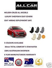 Sheepskin Car Seatcovers for Holden Cruze, Five colours, Seat Airbag Safe 30mmTC