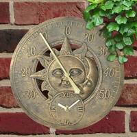 Retro Resin Copper Effect Outdoor Station Clock Garden Wall Clock thermometer UK