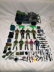 "Vintage Assorted 3 3/4"" GI Joe Action Figures (9), Weapons, and Vehicle"