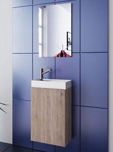Washing Area Sonoma Oak Washbasin + Wardrobe And Mirror Wc Guest Toilet