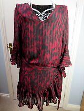 RELIGION Animal Print Tunic Dress L 14 Ruffle Frill Drop Waist Quirky Bloggers