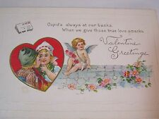 ANTIQUE VALENTINE GREETINGS LITHO POSTCARD WITH CUPID EMBOSSED  T*