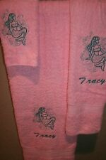 Mermaid Nautical Outline Personalized 3 Piece Bath Towel Set Any Color Choice