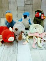 6 TAGGED TY BEANIE BABIES JOB LOT BUNDLE SCOOP SNORT ROCKET SPIKE CHEEKS GOOCHY