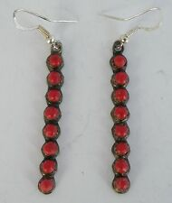 Old Native American, Navajo sterling silver, row petite point Coral earrings