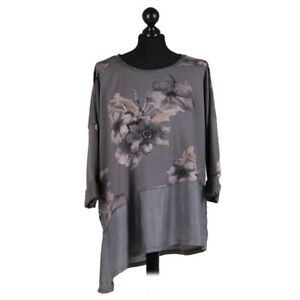 Floral Asymmetric Lagenlook Charcoal Top with silk hem from Timeless Season