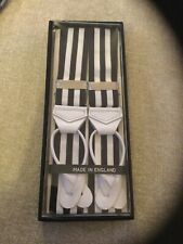 PREMIUM STRIPED NAVY/WHITE RIGID BARATHEA BRACES WITH BLACK LEATHER ENDS