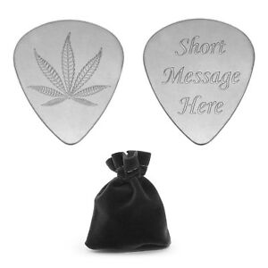 Personalised Plectrum Guitar Pick Cannabis Leaf Musician FREE POST Signed For