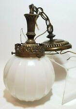 Vtg Globe Milk Glass Hanging Pendant Swag Lamp Ribbed Melon Light Fixture Mid Ce