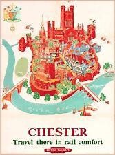 Chester England British Railways Vintage Great Britain Travel Poster Print