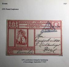 1927 Netherlands Stationary Postcard Cover To  Basel Switzerland UPU Conference