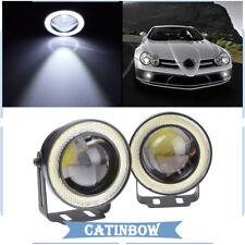 "2x 2.5"" Car Angel Eye COB Halo Ring LED Projector Lens Fog Driving Light White"