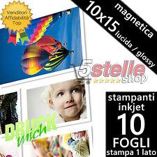 10 FOGLI CARTA FOTOGRAFICA 10x15 MAGNETICA CALAMITATA GLOSSY LUCIDA PER INKJET