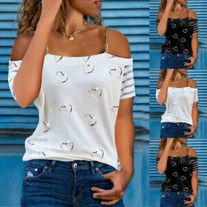 Womens Heart Print Chain Cold Shoulder T-shirt Ladies Short Sleeve Casual Blouse