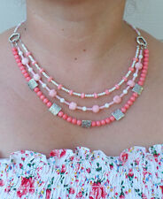 3 strand pink dyed corals & fresh water pearl beaded necklace artisan hand made