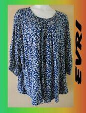 WOMEN'S PLUS SIZE 4X 26W 28W  SUMMER FLOWING BLUE EVRI TOP SHIRT CLOTHING - NEW