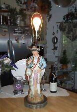 "Vintage Mid Century Brass Ceramic Spanish Musician Retro 33"" Table Lamp Latino"