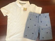 Boys Gymboree Blue Sailboat Shorts And Crazy 8 White Polo Shirt New 10