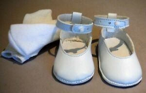 """Vintage White Doll Shoes with Ankle Strap for Sasha 2 3/8"""" x 1 1/8"""" P1628"""