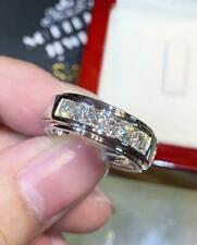 Men's Classic Ring 2 Ct Diamond Engagement & Wedding Fancy Band 14K White Gold