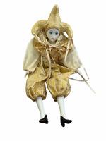 "Porcelain Mardi Gras Jester Harlequin Doll White Gold Metallic Paisley 18"""