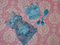 Mattel Barbie Doll Clothing Lot FASHION AVENUE BLUE LINGERIE NIGHTIE SET Shoes