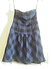 American Eagle Outfitter,Royal Blue & Black Plaid Strapless Mini Dress,Gothic 2