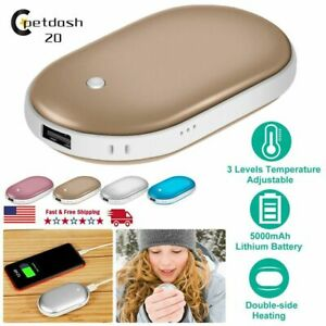 Electric Hand Warmer 5000mAH Portable Pocket Power Bank Hand Warmer Double-Sided Quick Heating for Relief the Pain,Ski,Hunting,Hiking Hand Warmers Rechargeable
